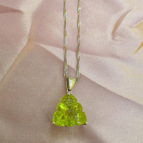 Triangular Citrine Pendant and Silver Chain