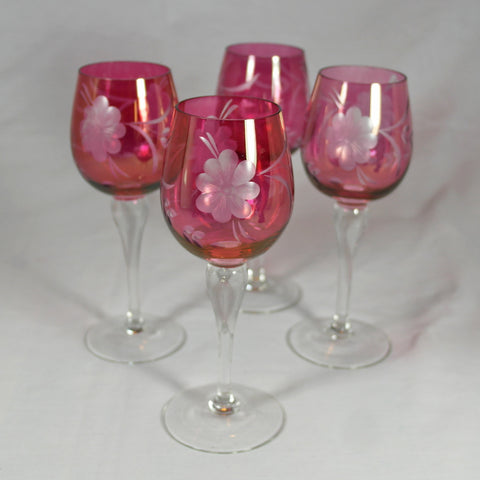 Cranberry Frosted Floral Etched Wine Glasses