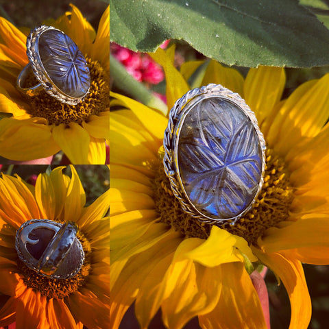 Carved Labradorite Ring Set In Sterling Silver