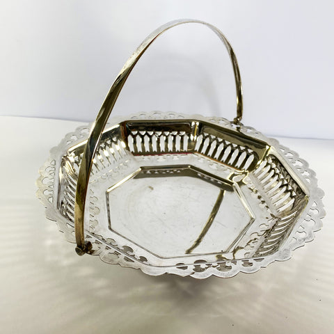 Antique Silver Plate Octagon Swing Handle Basket
