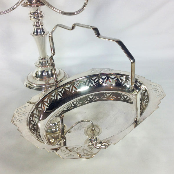 Antique Manco Silver Plate Swing Handle Basket