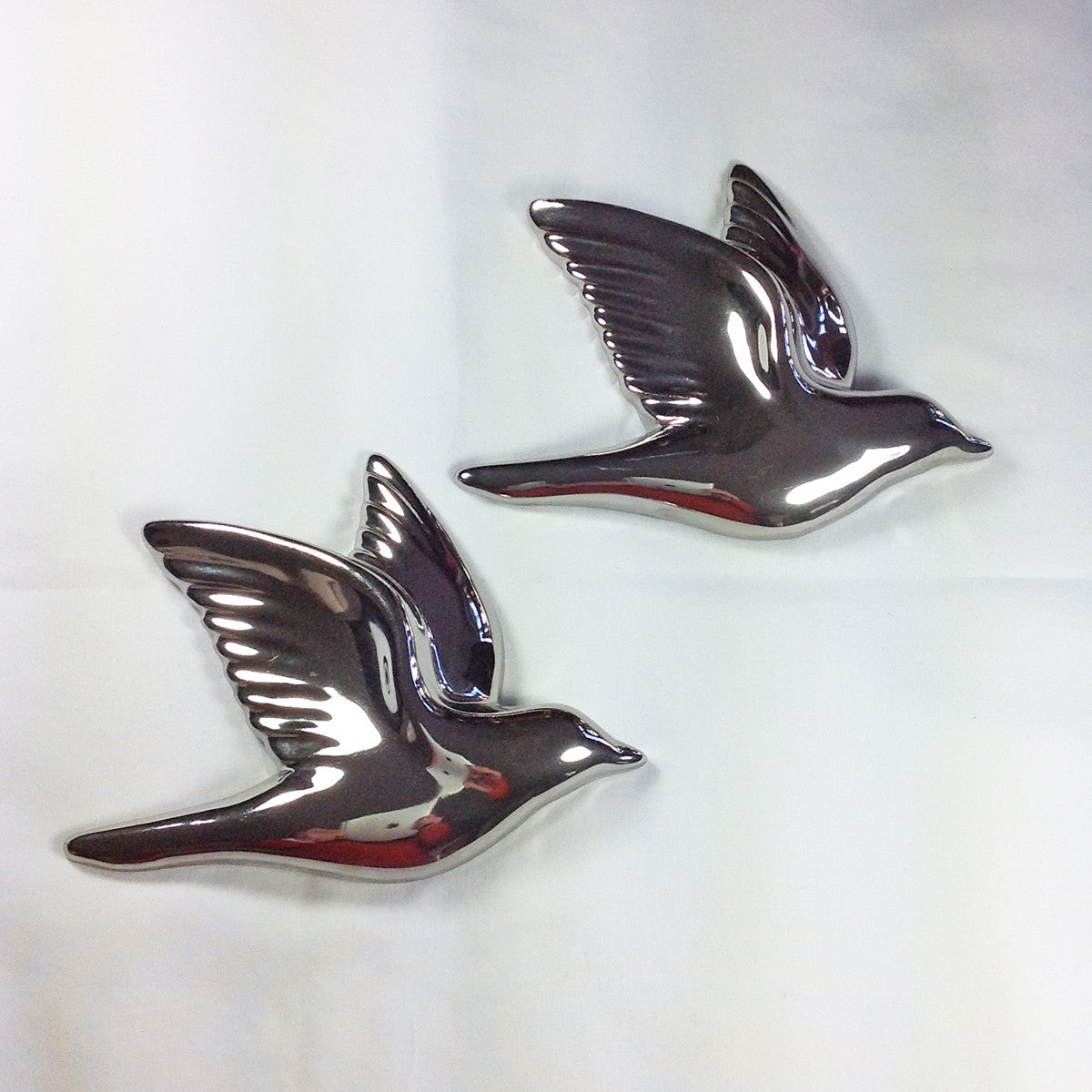 Set of Two Silver Flying Birds Wall Plaque