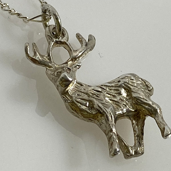 sterling silver stag charm necklace