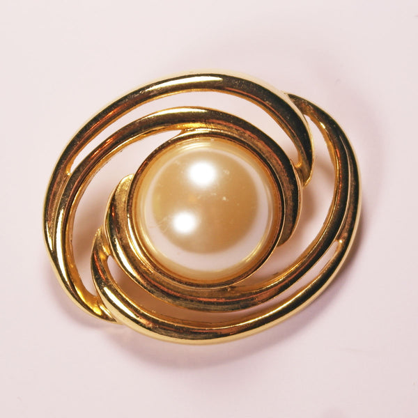 Swirl and Pearl Gold Tone Brooch