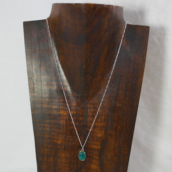 Sterling silver turquoise charm necklace