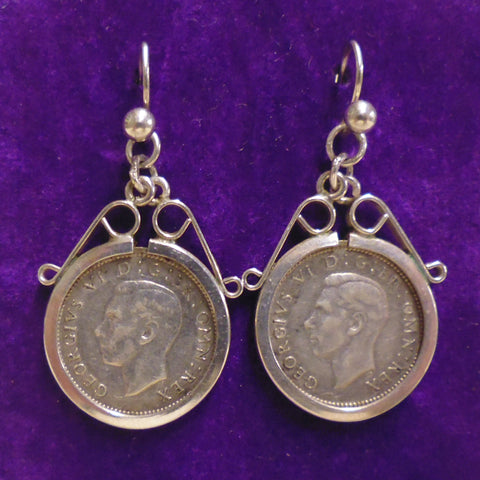 Three Pence George VI Earrings