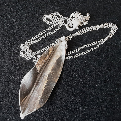 Sterling Silver Hammered Leaf Pendant