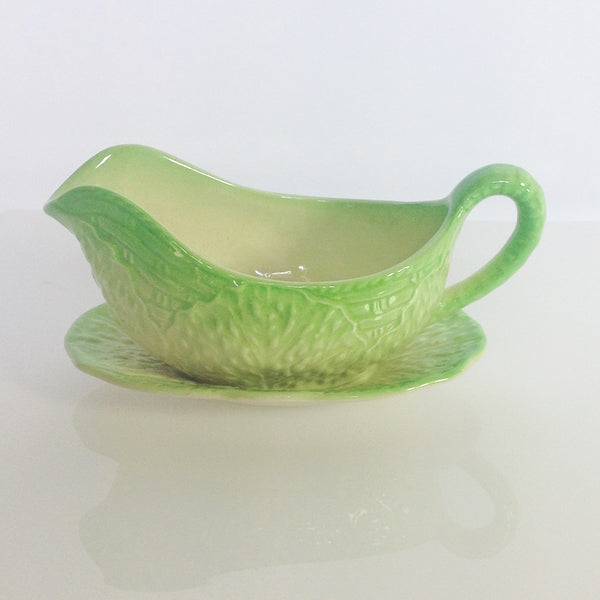 Beswick Cabbage Leaf Sauce Boat and Plate