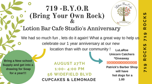 719 Rocks! Bring Your Own Rock- Hosted By Lotion Bar Cafe Studio & Anniversary Celebration !