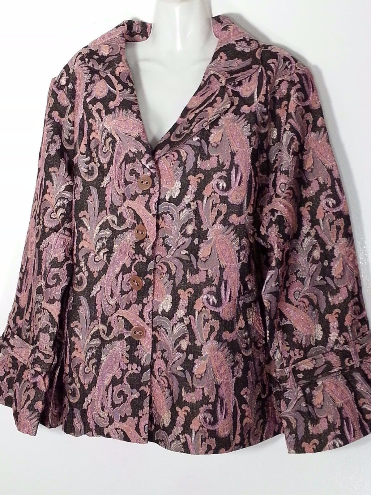 Avenue Paisley Pink And Brown Jacket 30 32 4X