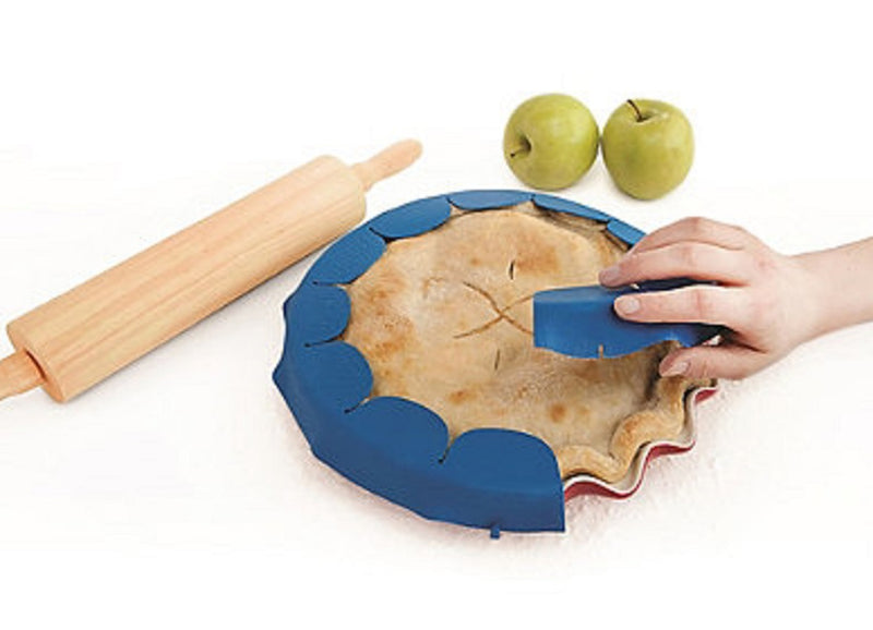 "Talisman Designs Rippled Adjustable Pie Crust Shield Silicone 8-11.5"" Pan"