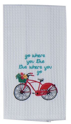 Kay Dee Designs Red Bike Embroidered Waffle  Towel