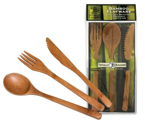 Totally Bamboo Flatware 3 Piece Set_in & out of pkg