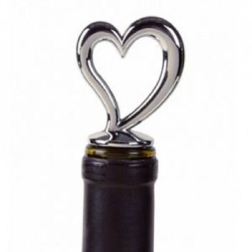 Prodyne Love of Wine Chrome Bottle Stopper - Heart