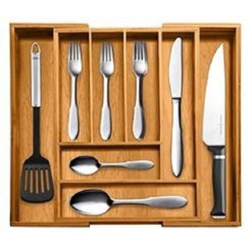 Totally Bamboo Utensil Drawer Organizer Expandable Tray Silverware Kitchen Tools