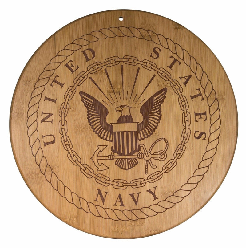 Totally Bamboo 12-Inch Navy Serving Board Plaque Official USA Military Seal