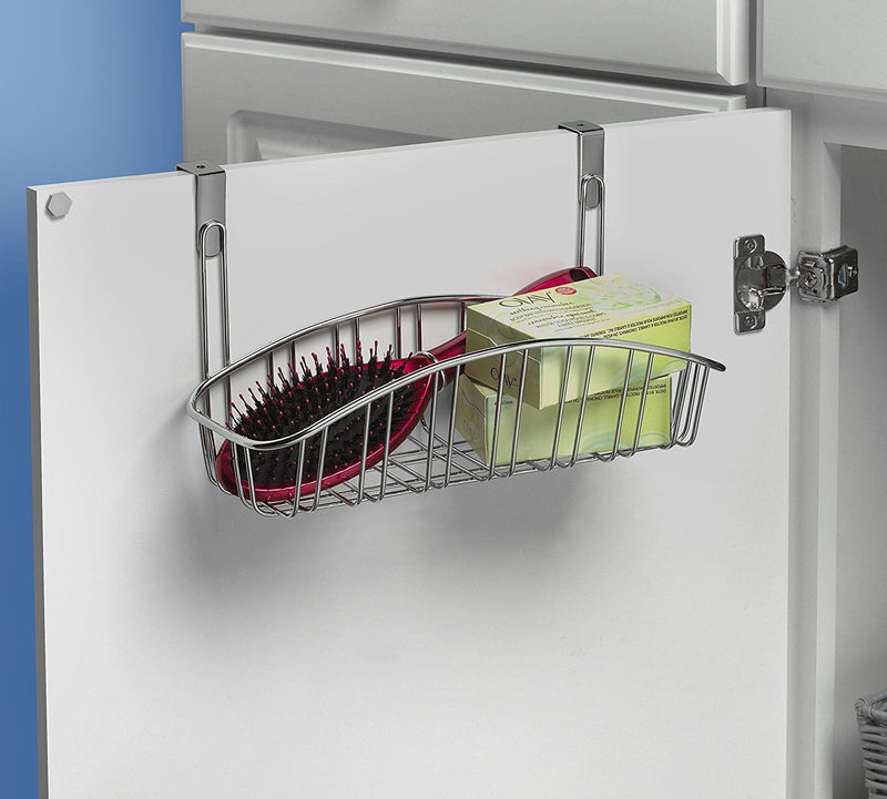 Spectrum Contempo Storage Organizer Small Basket Over the Cabinet Chrome 87770