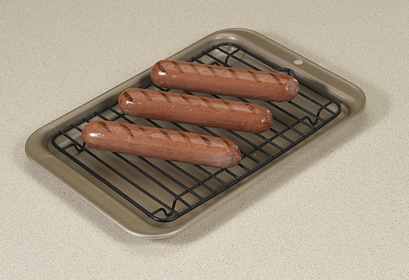 Nordic Ware Toaster Oven 2-Piece Broiler Set_with hot dogs