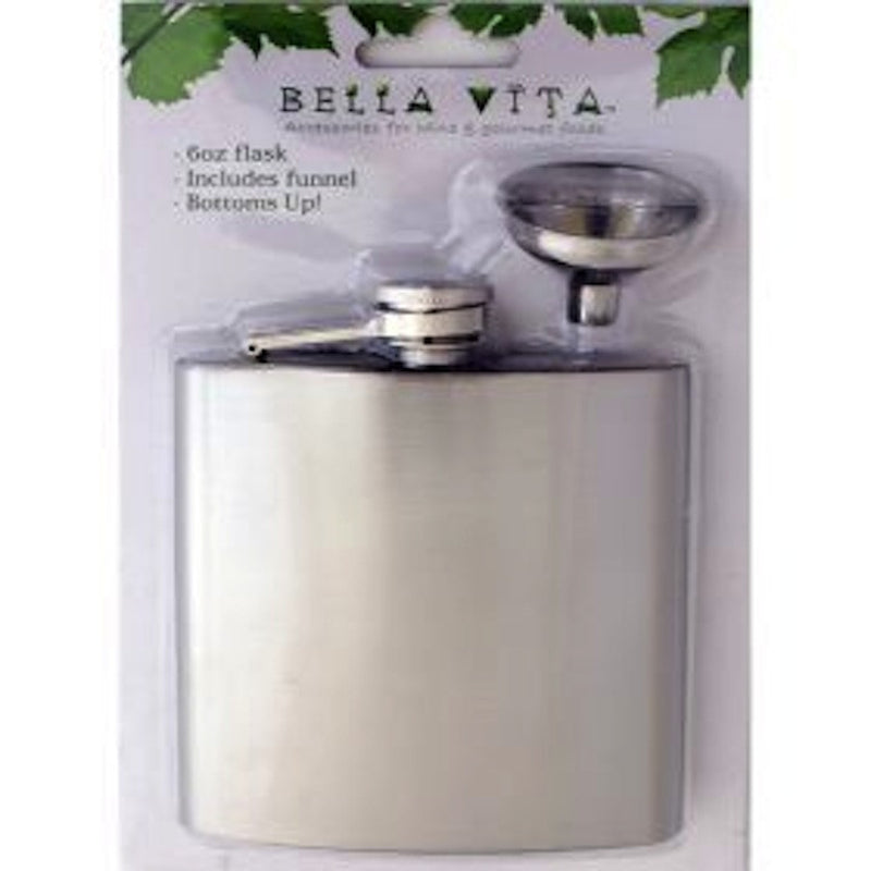 Bella Vita Hip Flask & Funnel 6 oz - Stainless Steel_pkg