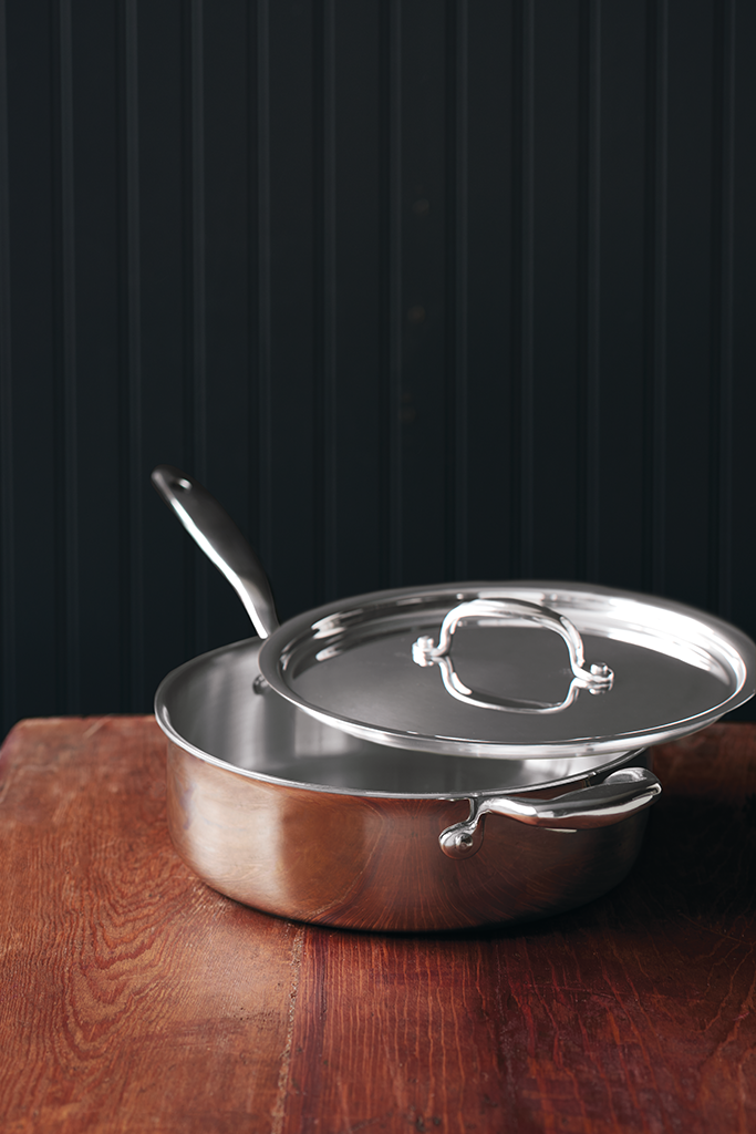 Hammer Stahl American Clad 7-Ply 4-Quart Saute Pan with Lid_on table