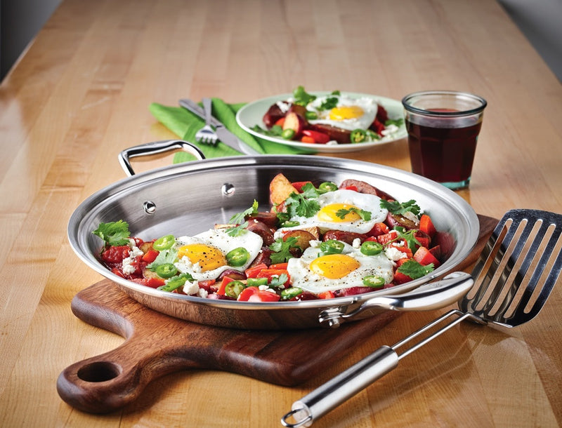 Hammer Stahl American Clad 7-Ply 13.5-inch Paella Pan-Griddle_lifestyle
