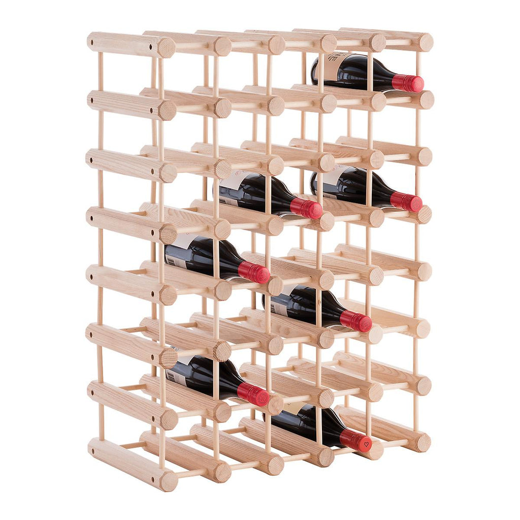 JK Adams Large-40 bottle Modular Ash Wine Storage Rack tall layout w-wine Bottles