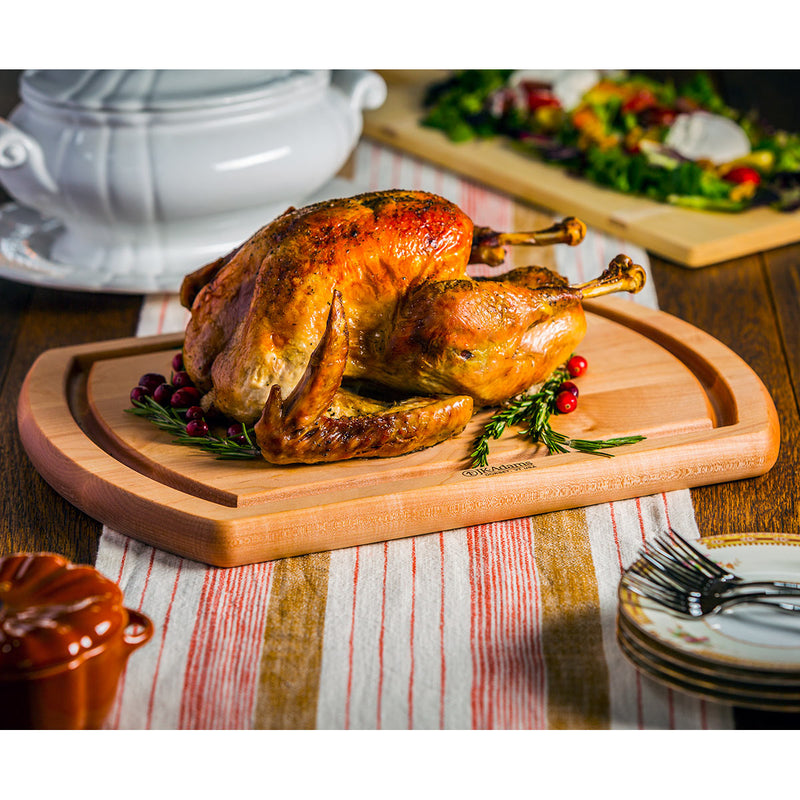 JK Adams Maple Reversible Carving Board 20-inch w-Turkey on table