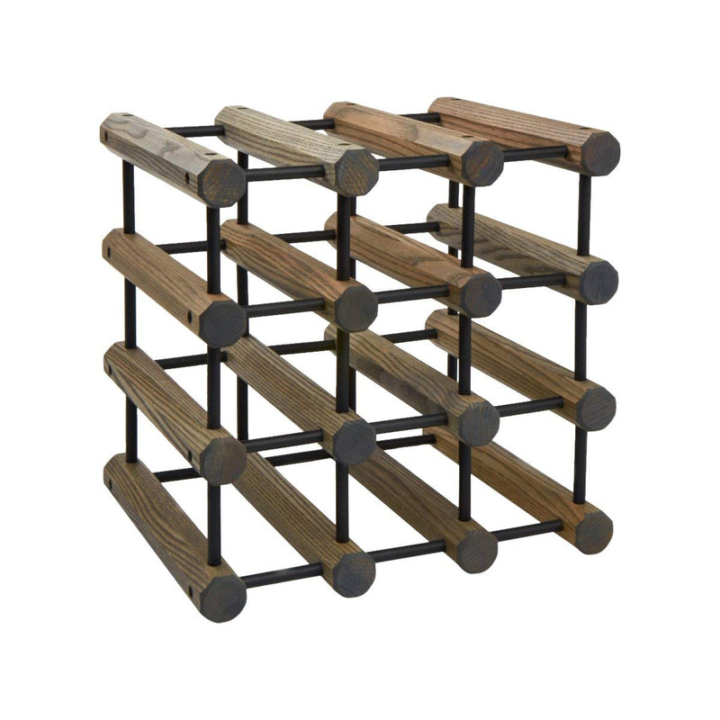JK Adams Ash Modular Wine Rack - Driftwood Gray with Black Pins - 12 or 40 Bottle Size