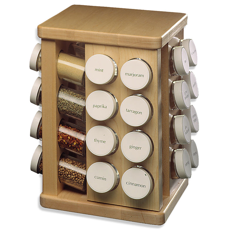 JK Adams Small 32 Bottle Maple Spice Carousel w-filled jars