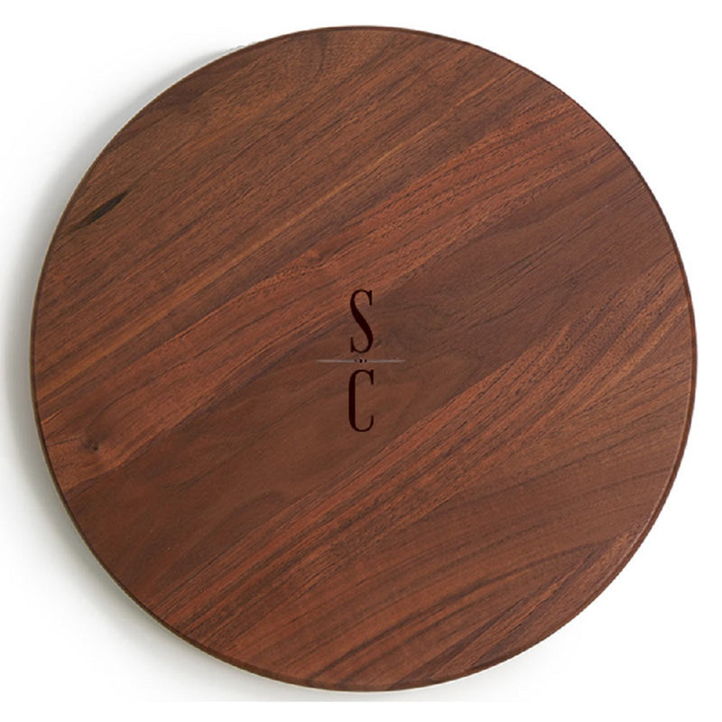 JK Adams Walnut Lazy Susan 18-in with engraving sample