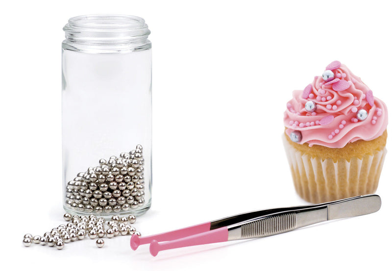 RSVP Endurance Decorating Tongs by jar of decorations & cupcake
