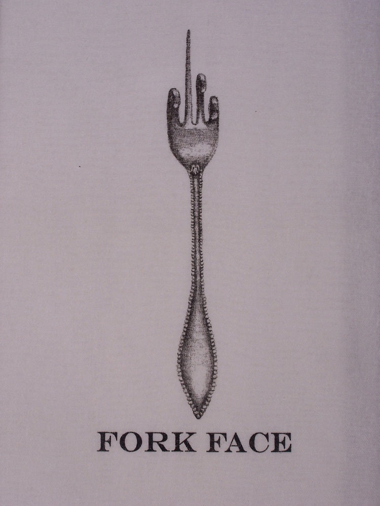 Lil Basket Case Unbleached Fork Face Towel Closeup