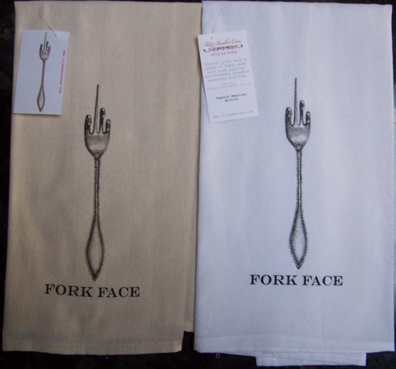 Lil Basket Case Fork Face Towels - Natural + Bleached