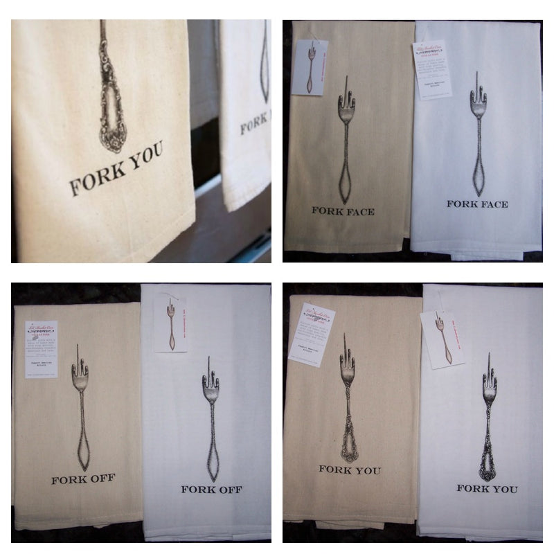 Lil Basket Case Fork with Attitude Flour Sack Towel Collage