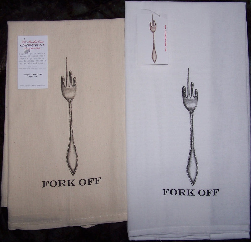 Lil Basket Case Fork Off Towels - Bleached + Unbleached
