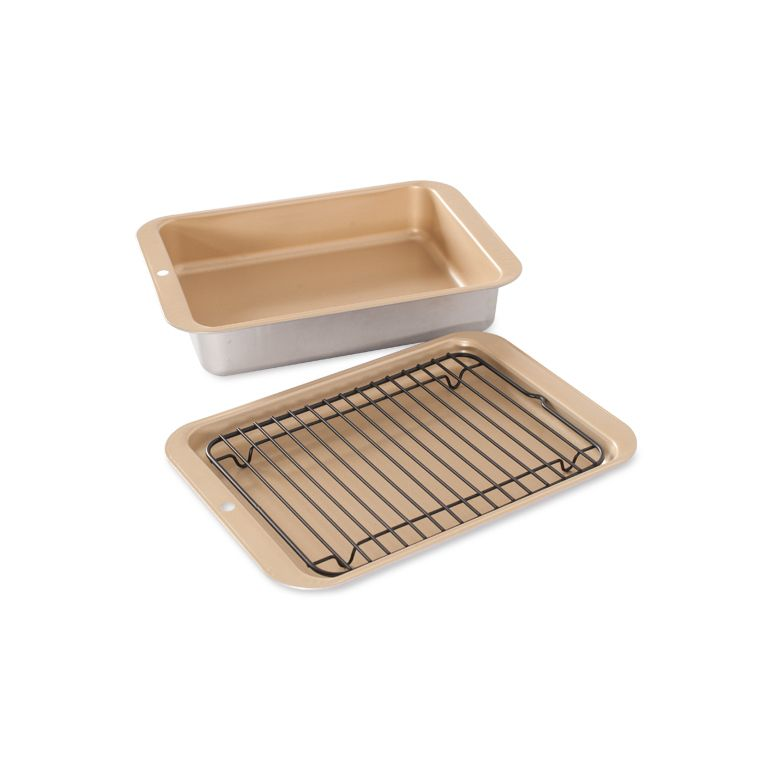 Nordic Ware 43210 Compact Ovenware 3-Piece Set with casserole + broiler pans