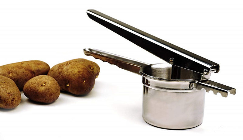 RSVP Endurance Potato Ricer with potatoes on side