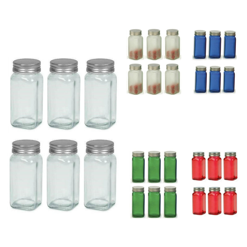 RSVP Square Glass Spice Jar - Set of 6_collage of colors