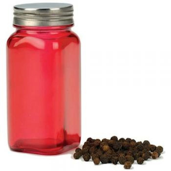 RSVP Square Red Glass Spice Jar