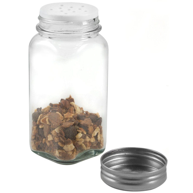 RSVP Square Clear Glass Spice Jar_w spice_lid off