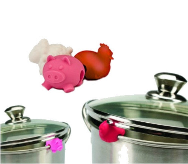 Tovolo 81-4467 Farm Animals Pot Lid Lifters 3 set-pig & rooster on stainless steel pots