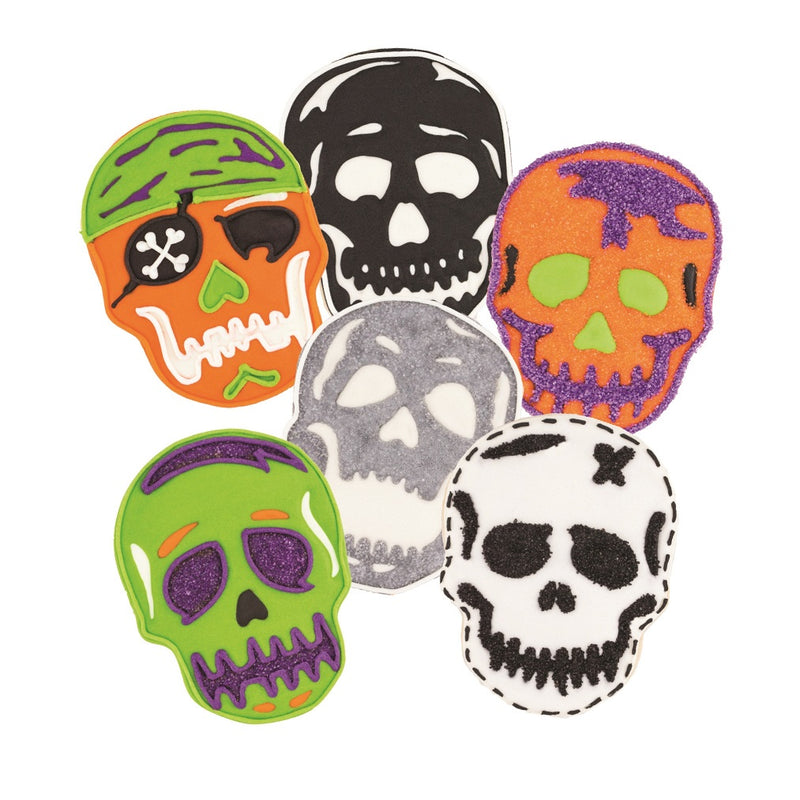Tovolo Skull Cookie Cutters decorated cookies of each design
