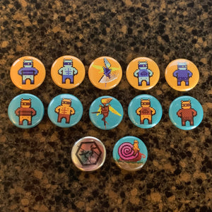 Killer Queen button set (11 buttons plus 1 exclusive!)