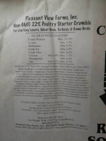 Pleasant View Non GMO CT Grown Starter Crumbles 50 lb