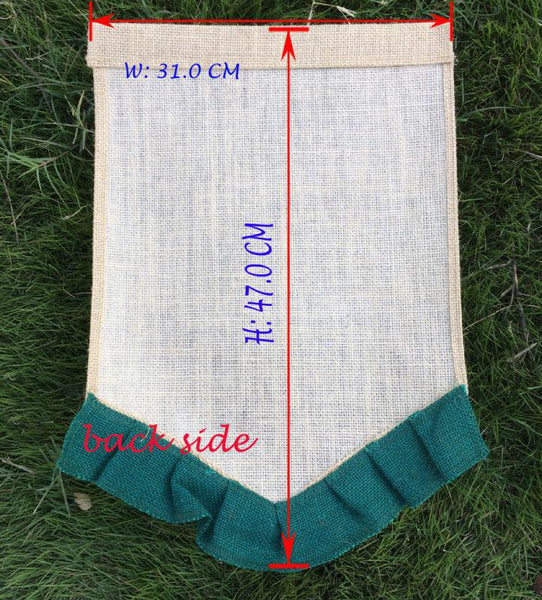 Burlap Garden Flags - Colored Ruffle