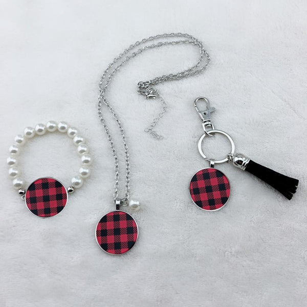Buffalo Plaid Disc Jewelry - Necklaces, Keychains, Bracelet