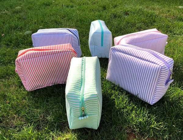 Green Seersucker Cosmetic Bags
