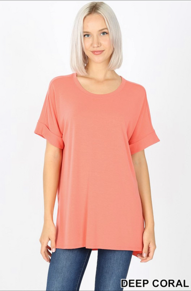 Rolled Short Sleeve Round Neck with Side Slit Hi-Low Hem