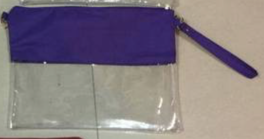 Clear Stadium Bags with wrist strap and long strap