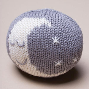 Organic Sleeping Moon Rattle Baby Toy
